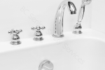 Smooth operational Roman faucets available in straight or round lever design, turnable with one finger!