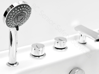 Built in convenient shower wand with independent on/off transfer valve.